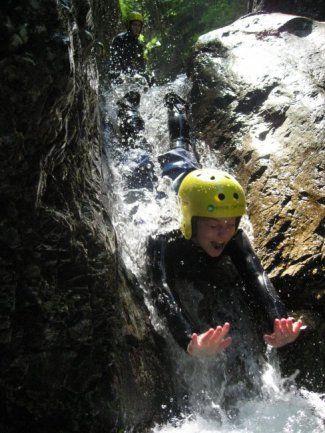 canyoning, walking, swimming, sliding, jumping