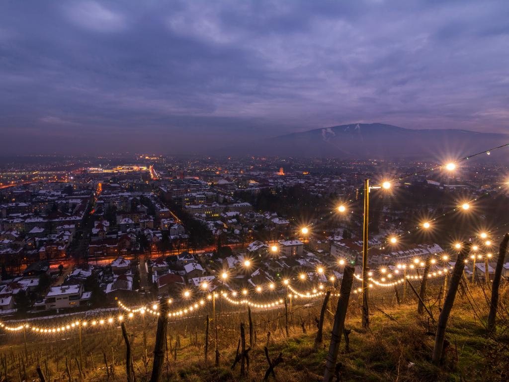 Maribor Festive December lights Pyramid hill