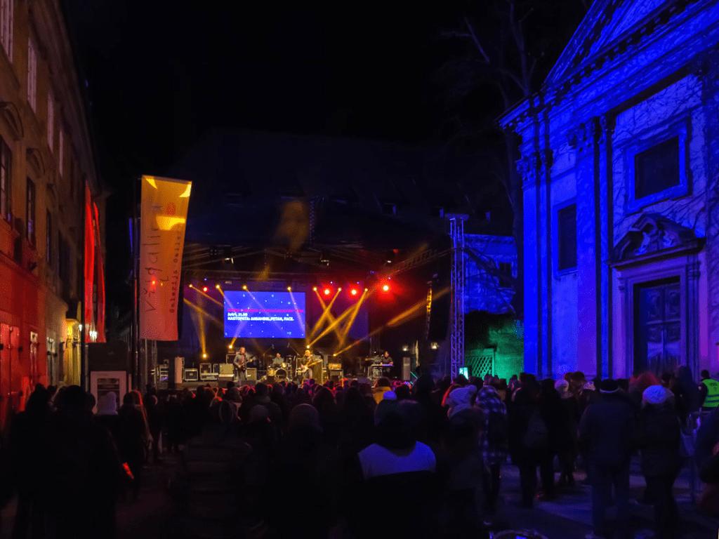 Ljubljana New Year Eve Trg francoske revolucije Square concert