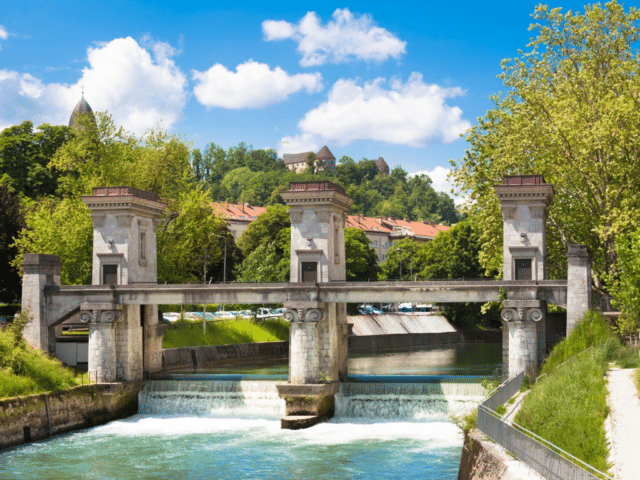 sluice gates on ljubljanica river ljubljana